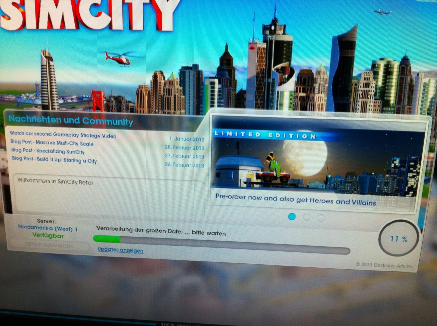 Sim City Beta Loading Screen