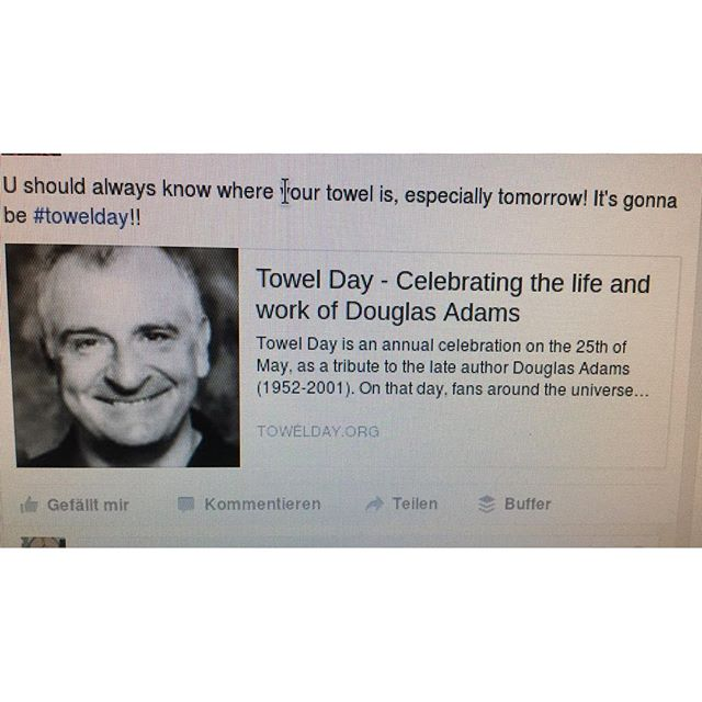 Quick #towelday reminder - via Instagram