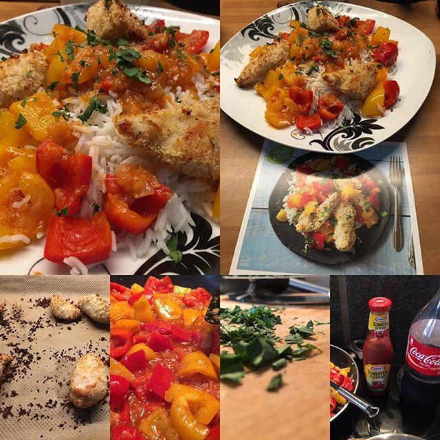 Ausführung #hellofresh #foodporn Hähnchenbrustfilet in Panko-Kokos-Panade mit süß-saurem Paprikagemüse - via Instagram
