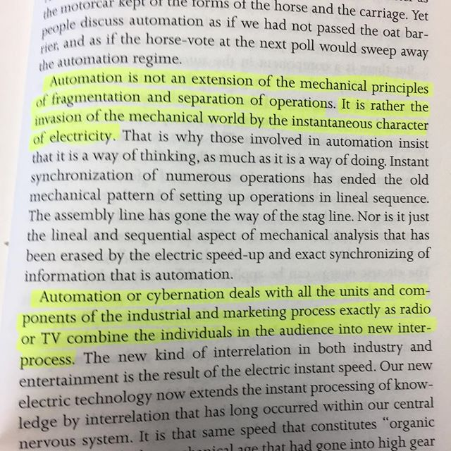 How far from automation to digitization? #mcluhan #understandingmedia - via Instagram