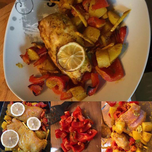 """Jamies Hähnchenbrust aus dem Ofen mit Zitronenkartoffeln """"Bombay"""" - langer Titel aber sehr lecker  #hellofresh <a href='https://www.senselesswisdom.net/tag/foodporn/' rel='tag'>#foodporn</a> #2017 - via Instagram"""