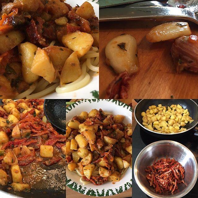 Getrocknete Tomaten, Kartoffelwürfel und Spaghetti #lunchtime <a rel=