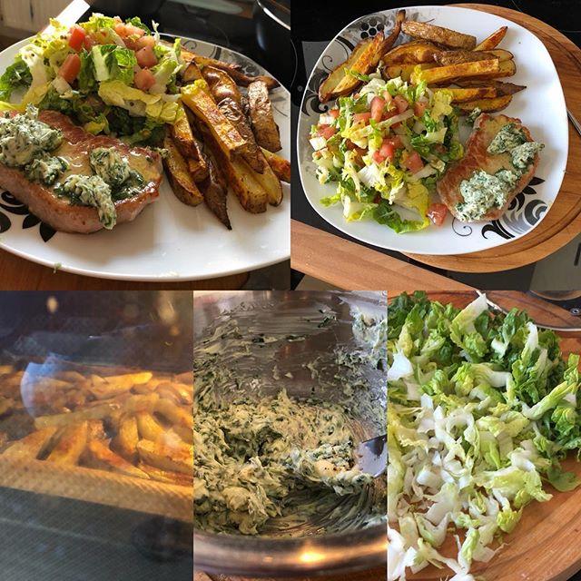 Schweinesteaks mit Kräuterbutter, Pommes und frischem Salat <a rel=