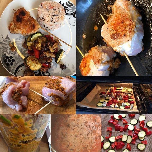 Gefüllte Putenbrustroulade mit Tomatenreise und Ofengemüse #foodporn #hellofresh - via Instagram