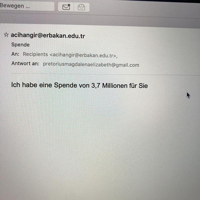 Na endlich, ich dachte schon, ich werde nie Millionär... #spam #inbox - via Instagram
